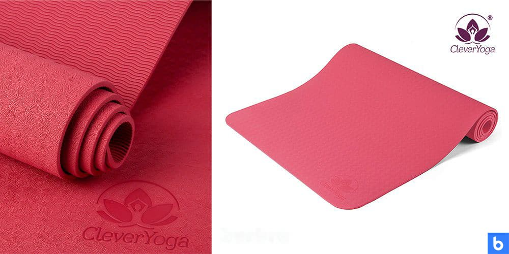 This is a photo of the CleverYoga Non-Slip Mat overlaid on a minimalistic white background with a Burbro logo.