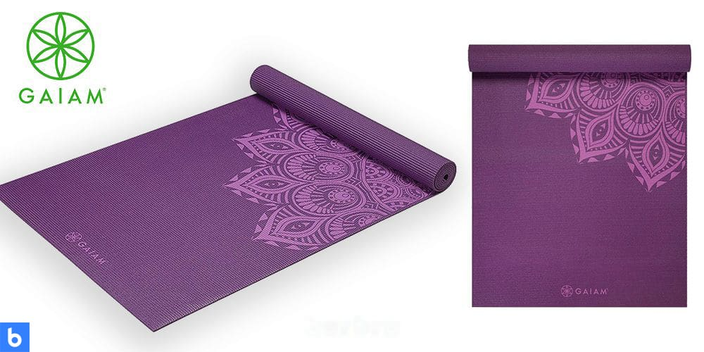 This is a photo of the Gaiam Premium Print Yoga Mat overlaid on a minimalistic white background with a Burbro logo.