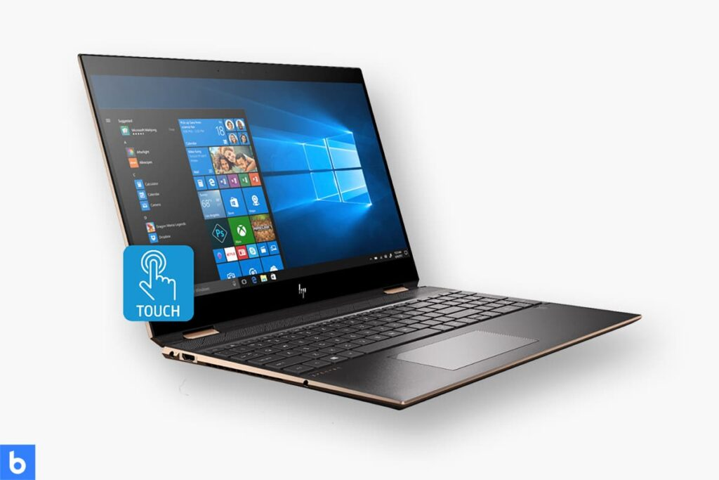 This is a product image in our Best Lightweight Laptop in 2021 article. It is a photo of an HP Spectre x360 Laptop overlaid on a minimalistic white background with a Burbro logo.