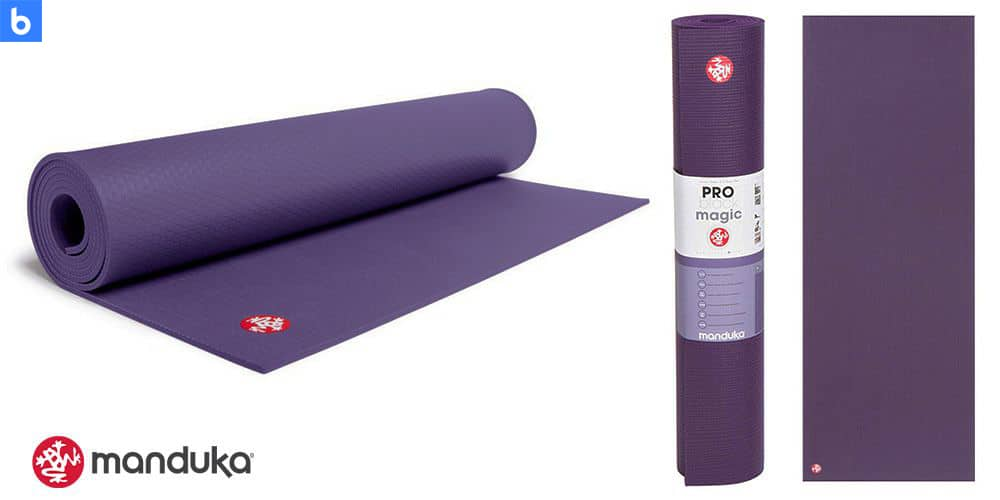 This is a photo of the Manduka Pro Yoga Mat overlaid on a minimalistic white background with a Burbro logo.