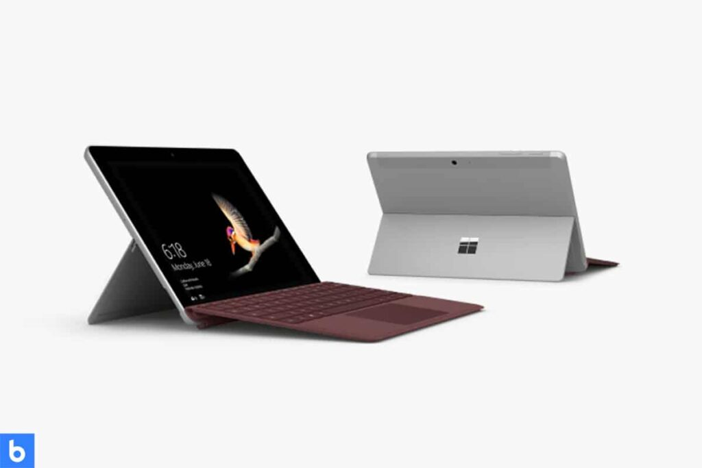 This is a product image in our Best Lightweight Laptop in 2021 article. It is a photo of a Microsoft Surface Go laptop overlaid on a minimalistic white background with a Burbro logo.