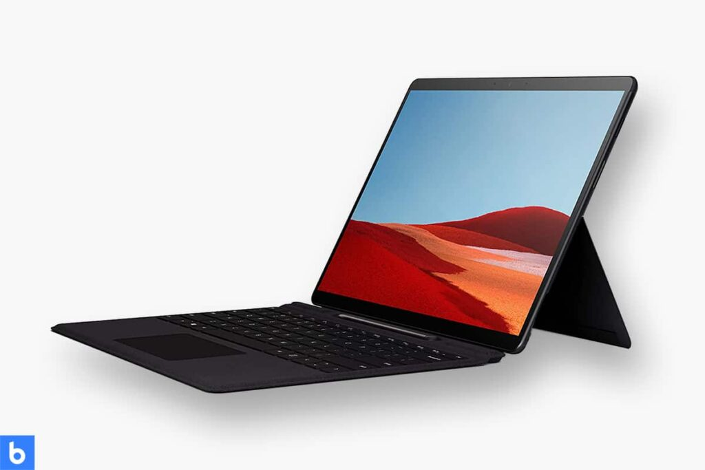 This is a product image in our Best Lightweight Laptop in 2021 article. It is a photo of a Microsoft Surface Pro X Laptop overlaid on a minimalistic white background with a Burbro logo.