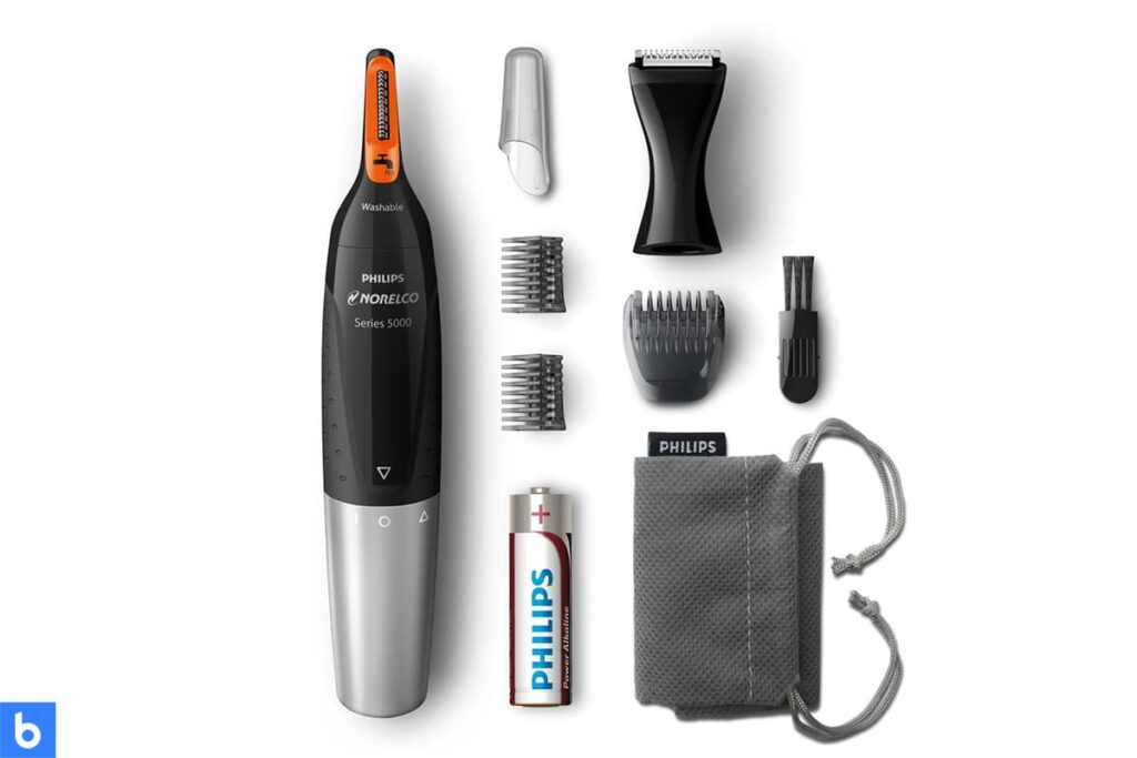 This is a product image in our Best Nose Hair Trimmers in 2021 article. It is a photo of a Philips Norelco 5100 Nose Hair Trimmer overlaid on a minimalistic white background with a Burbro logo.