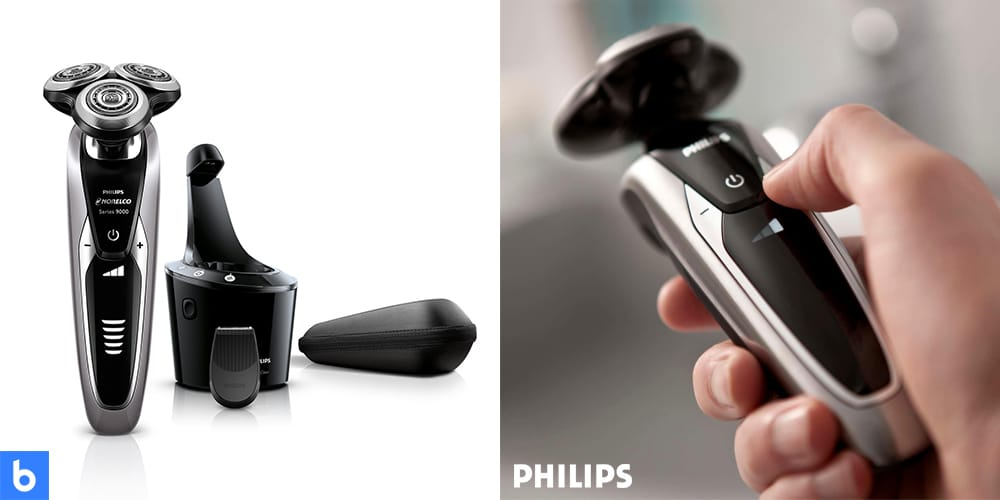 This is a product image in our Best Electric Shavers in 2021 article. It is a photo of the Philips Norelco 9300 Electric Shaver overlaid on a minimalistic white background with a Burbro logo.