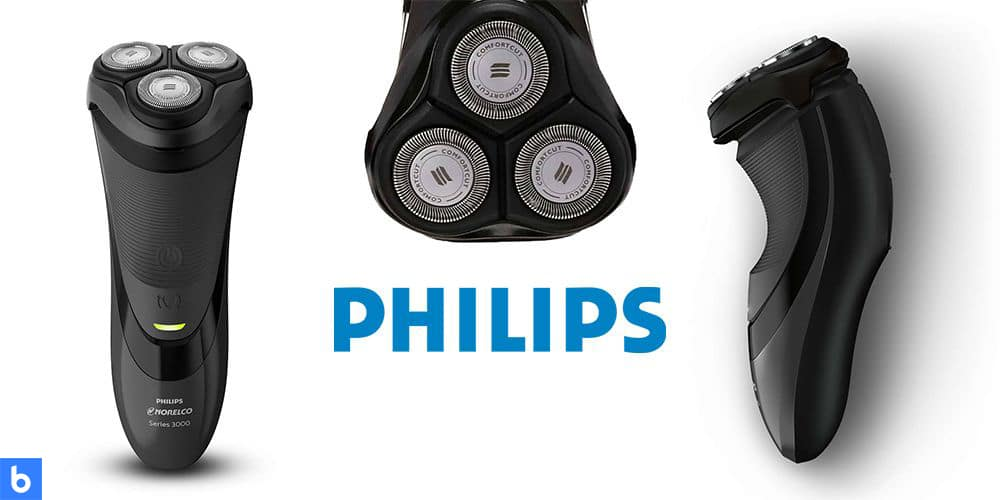 This is a product image in our Best Electric Shavers in 2021 article. It is a photo of the Philips Norelco 3100 Electric Shaver overlaid on a minimalistic white background with a Burbro logo.