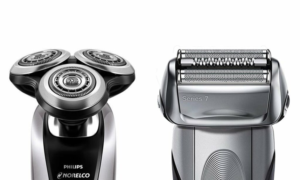 This is a side by side comparison of foil shavers vs rotary shavers.