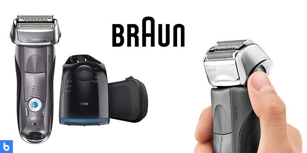 This is a product image in our Best Electric Shavers in 2021 article. It is a photo of the Braun Series 7 - 7865 Wet and Dry Electric shaver overlaid on a minimalistic white background with a Burbro logo.