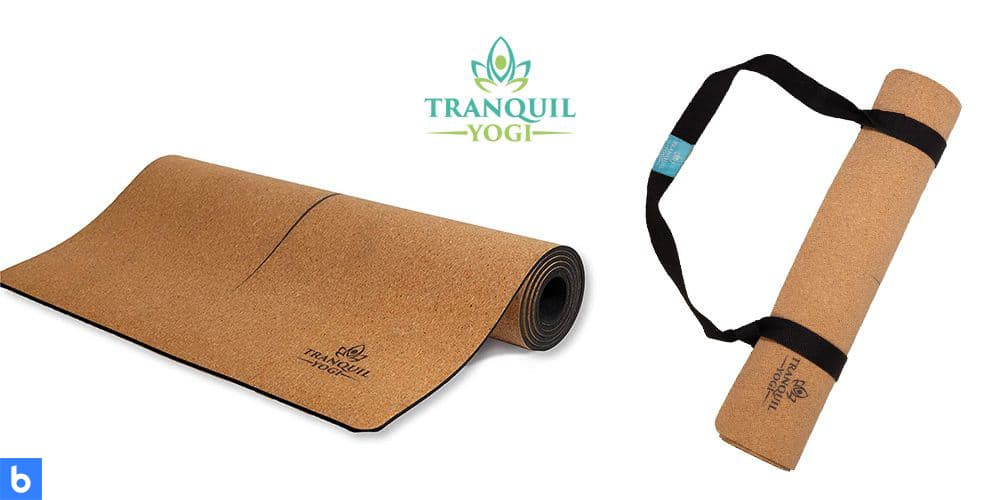 This is a photo of the Tranquility Cork Yoga Mat overlaid on a minimalistic white background with a Burbro logo.