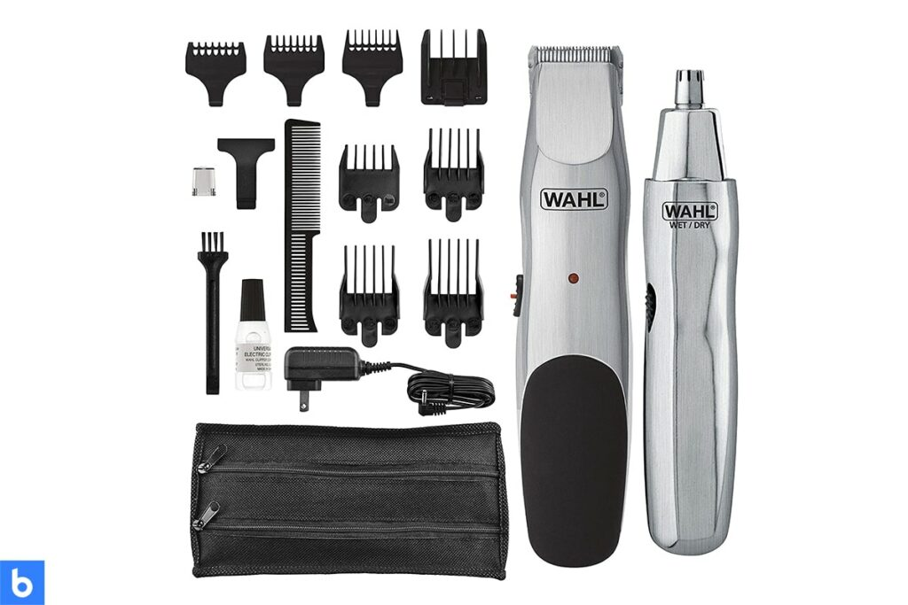 This is a photo of a Wahl Groomsman Trimmer Kit overlaid on a minimalistic white background with a Burbro logo.