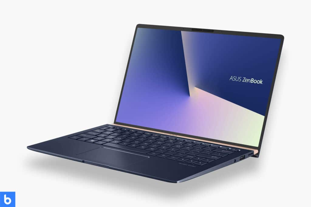 This is a product image in our Best Laptops for College Students in 2021 article. It is a photo of an ASUS Zenbook 13 laptop overlaid on a minimalistic white background with a Burbro logo.