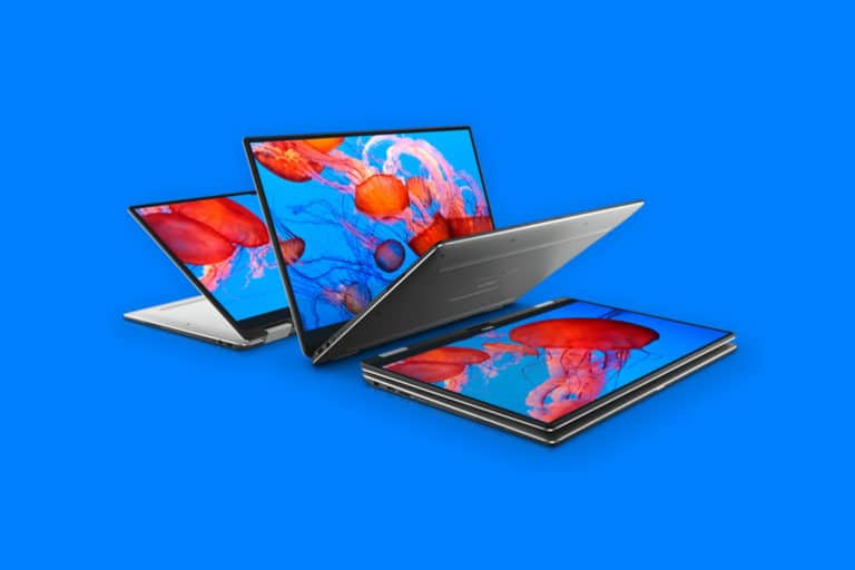 This is the cover photo for our Best 13 Inch Laptops article. It features a Dell XPS 13 laptop overlaying a royal blue background.