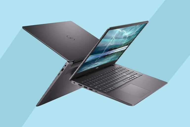 This is the cover photo for our Best Laptops for College Students article. It features two Dell XPS 13 laptops, back to back, hoving in limbo with a blue background with stripes.