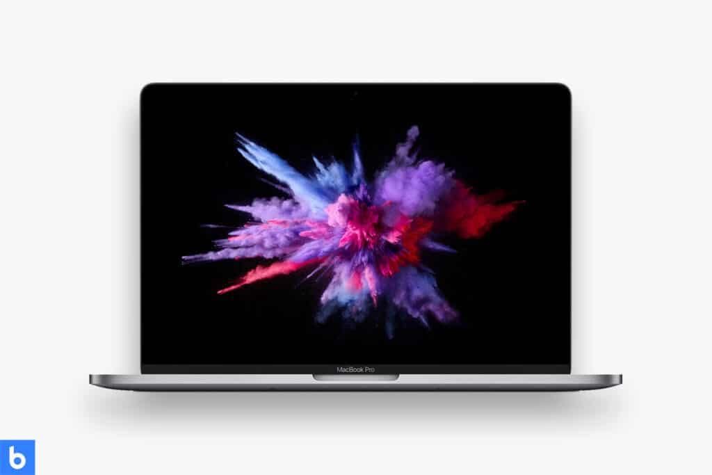This is a product image in our Best Business Laptop for 2021 article. It is a photo of a Macbook Pro overlaid on a minimalistic white background with a Burbro logo.