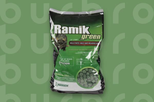 This is the cover photo for our Best Rat Poison article. It features a bag of Ramik Green rat poison overlaying a green background with an embossed Burbro logo.