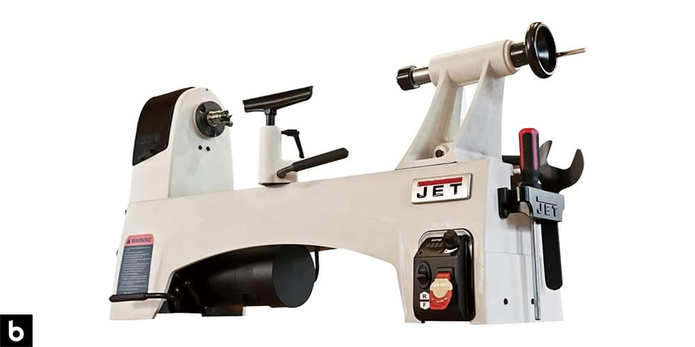 This is a product image in our Best Wood Lathe 2021 article. It is a JET JWL-1221VS Wood Lathe overlaid on a minimalistic white background with a Burbro logo.
