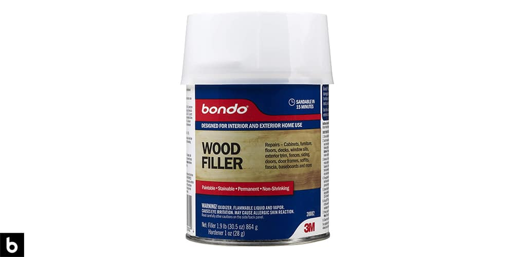 This is a photo of a bottle of Bondo Wood Filler overlaid on a minimalistic white background with a Burbro logo.