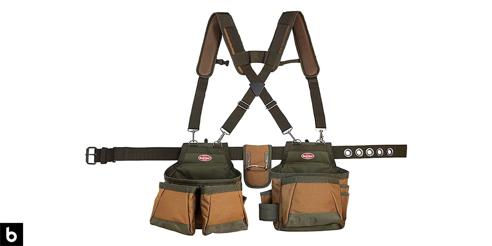 This is a product image in our Best Tool Belt 2021 article. It is a Bucket Boss Airlift Tool Belt overlaid on a minimalistic white background with a Burbro logo.