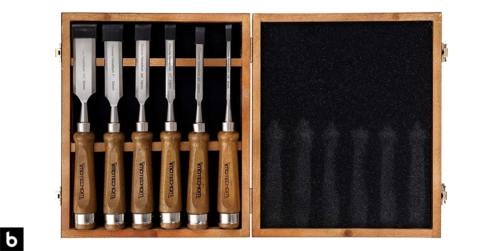 This is a photo of the Imotechom Woodworking Chisel Set, which we've chosen as the best premium woodworking chisel set in 2021. The set has a dark stained wood handle with a stainless-steel shaft, and are carried in a wooden carrying case/gift set. This image is overlaid on a white minimalistic background with a Burbro logo in the corner.