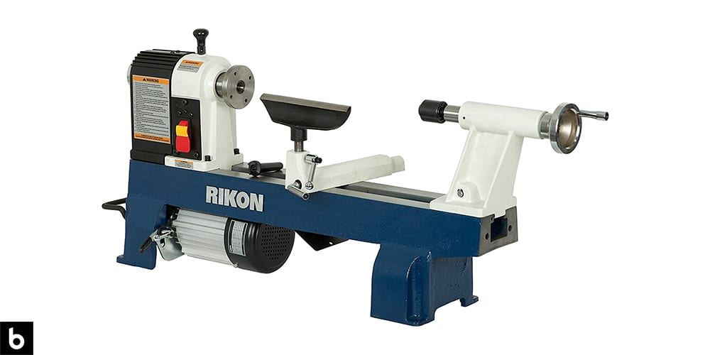 This is a product image in our Best Wood Lathe 2021 article. It is a Rikon 70-100 Mini Wood Lathe overlaid on a minimalistic white background with a Burbro logo.