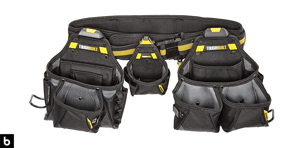 This is a ToughBuilt Contractor Tool Belt overlaid on a minimalistic white background with a Burbro logo.