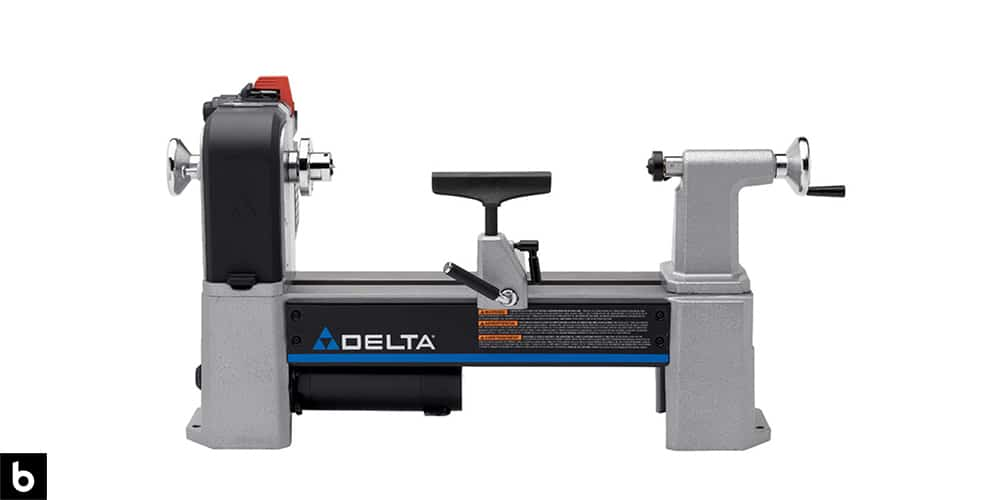 This is a product image in our Best Wood Lathe 2021 article. It is a Delta Industrial 46-460 Midi-Lathe overlaid on a minimalistic white background with a Burbro logo.