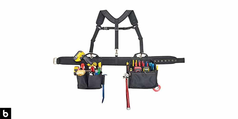 This is a picture of a CLC Electricians Combo Tool Belt with tools overlaid on a white background.