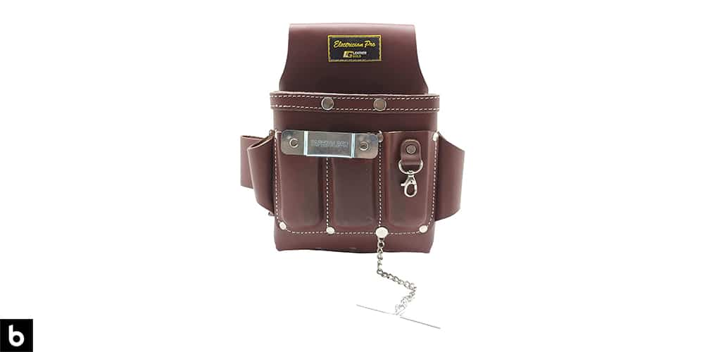 This is a product image of a classic brown leather electricians tool pouch, overlaid on a white background.