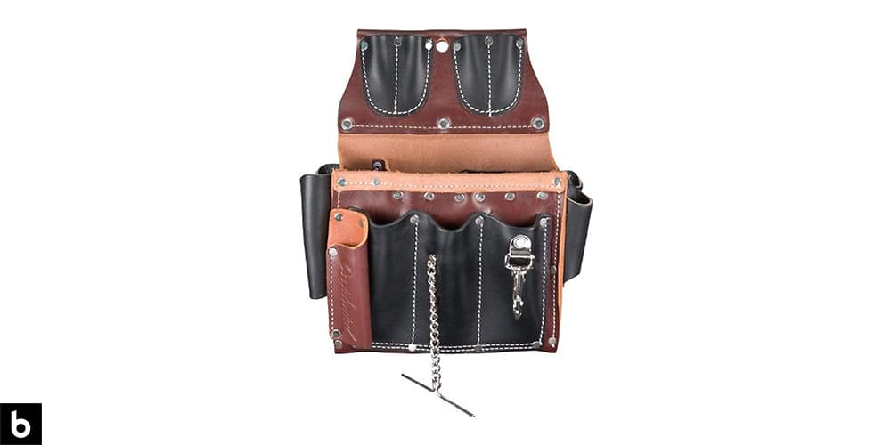 This is a picture of a brown Occidental Leather Electrician's Pouch overlaid on a white background.