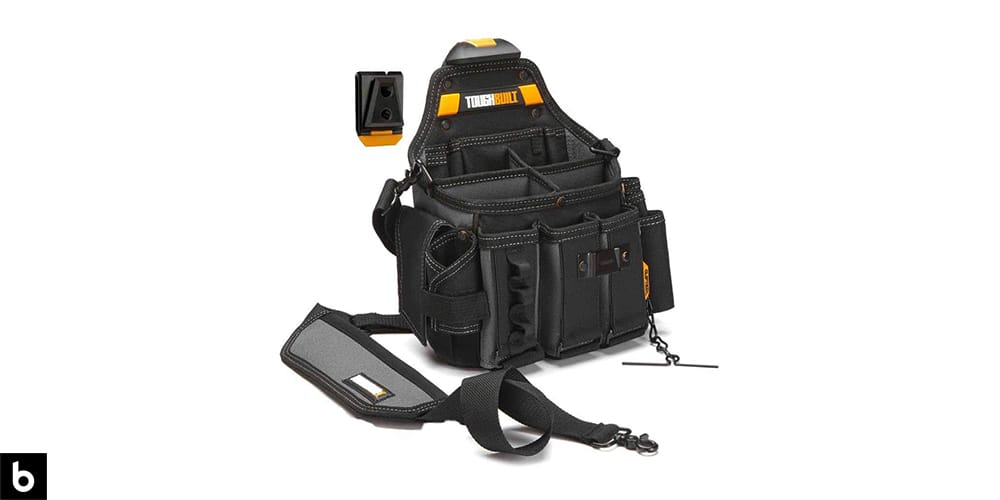 This is a product image of a black and yellow Tough Built Canvas Electricians Pouch, overlaid on a white background.