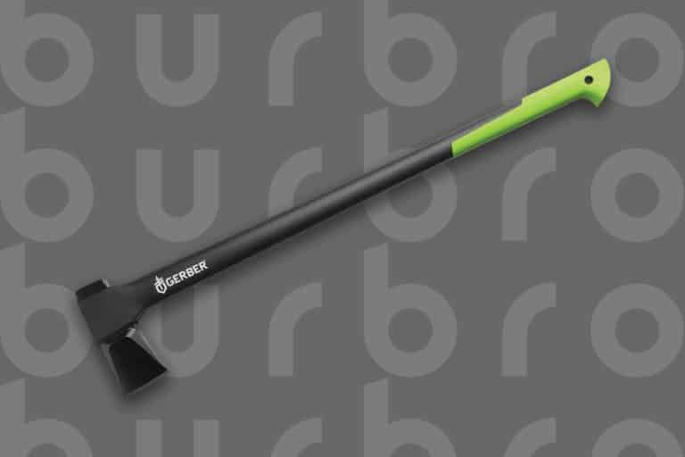 This is the cover photo for our Best Axes article. It features a black and lime green Gerber axe overlaid on a dark grey background with embossed Burbro logo.