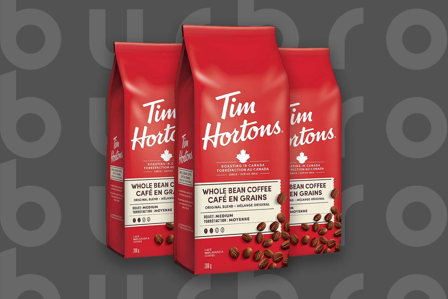 This is the cover photo for our Best Budget Coffee Beans article. It features 3 red and white bags of Tim Horton's whole bean medium roast coffee, overlaid on a dark grey background with embossed Burbro logo.
