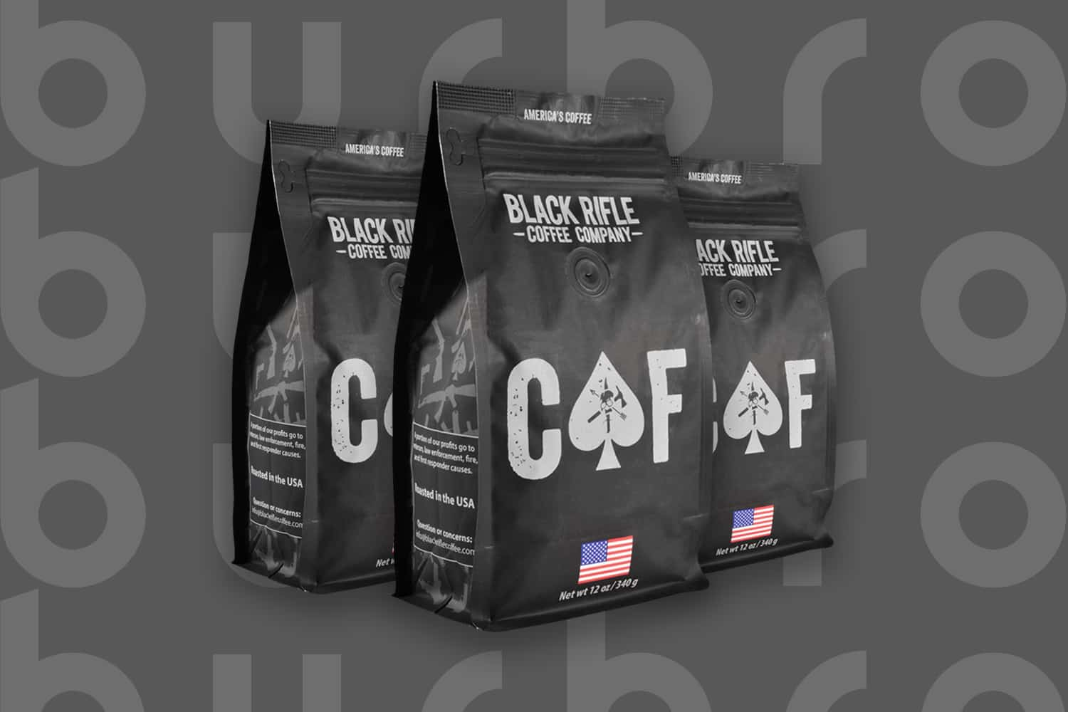 This is the cover photo for our Best Strong Coffee article. It features 3 black and grey bags of Black Rifle CAF 2x Caffeine coffee overlaid on a dark background with embossed Burbro logo.