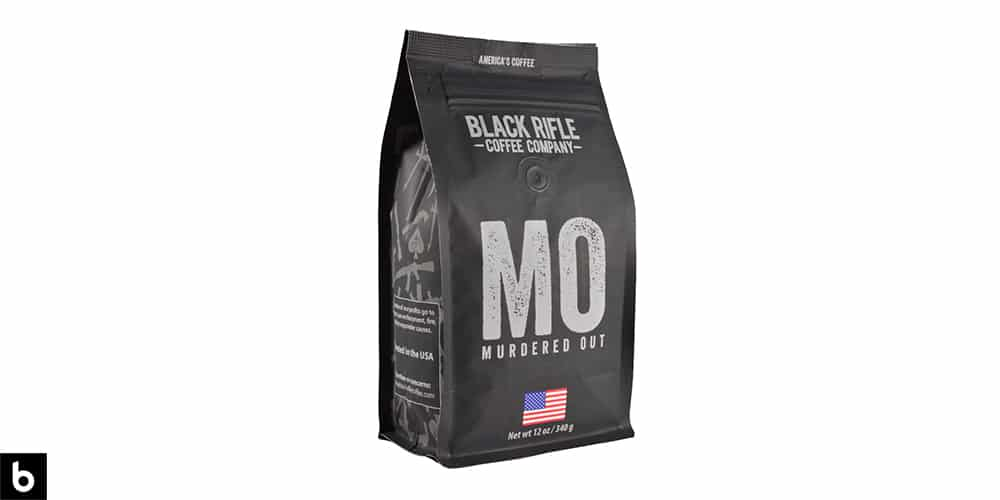 This is a product photo of a black and silver bag of Black Rifle Murdered Out dark roast coffee.