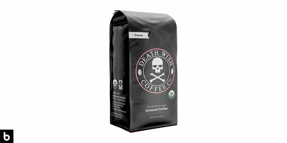 This is a product photo, featuring a black bag of Death Wish ground coffee.
