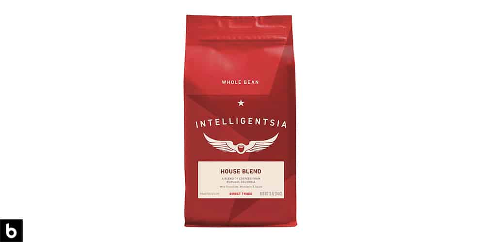 This is a product image of a red bag of Intelligentsia House Blend light roast coffee.