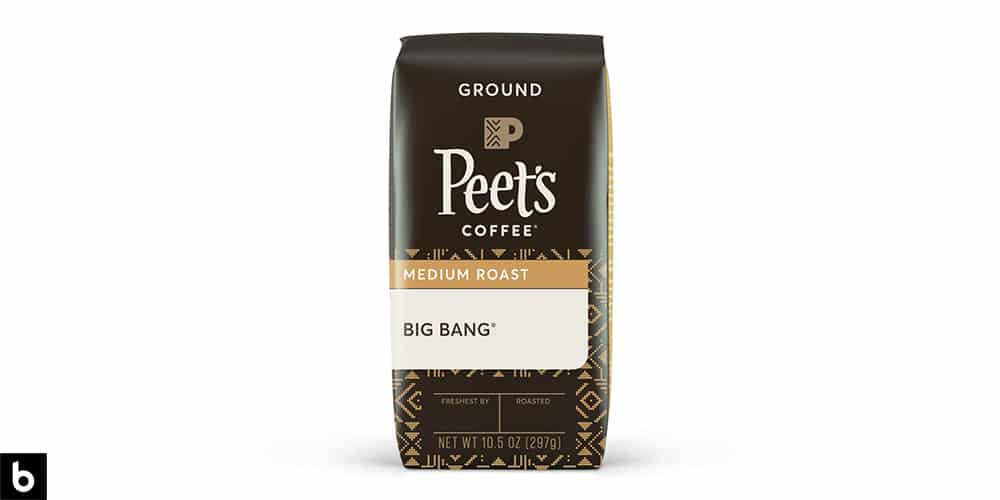 This is a product image of a brown bag of Peet's Coffee 'Big Bang' medium roast coffee.