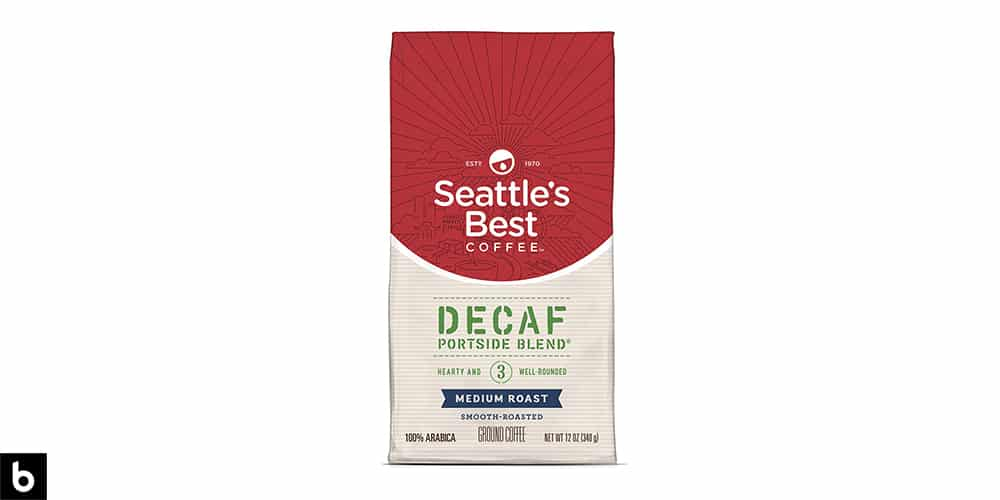 This is a product image, featuring a red and white bag of Seattle's Best Decaf Portside Blend coffee.