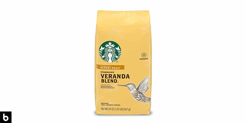This is a product image of a yellow bag of Starbucks Blonde Roast Coffee.