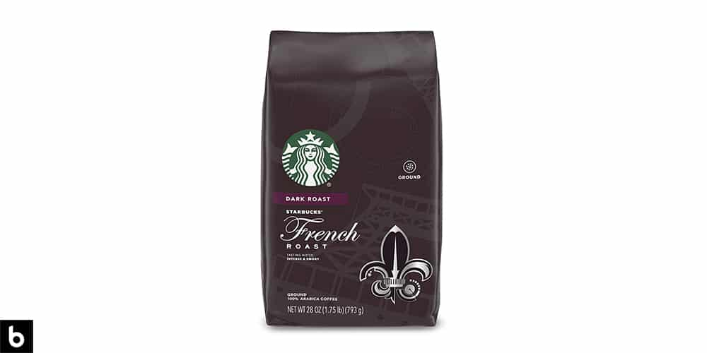 This is a product photo of a brown bag of Starbucks French Roast Dark Roast coffee.