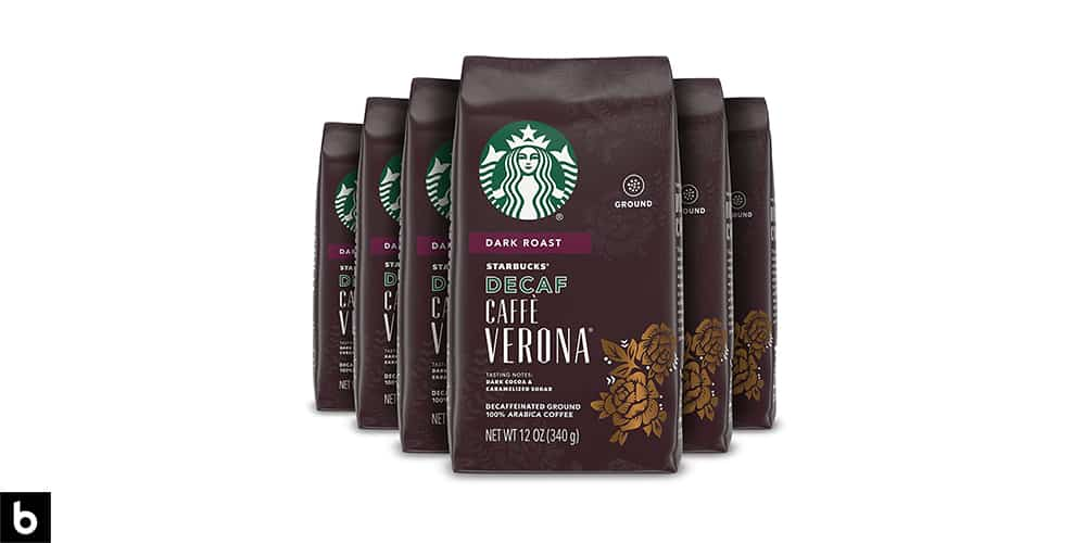 This is a product photo, featuring a brown bag of Starbucks Cafe Verona decaf coffee.