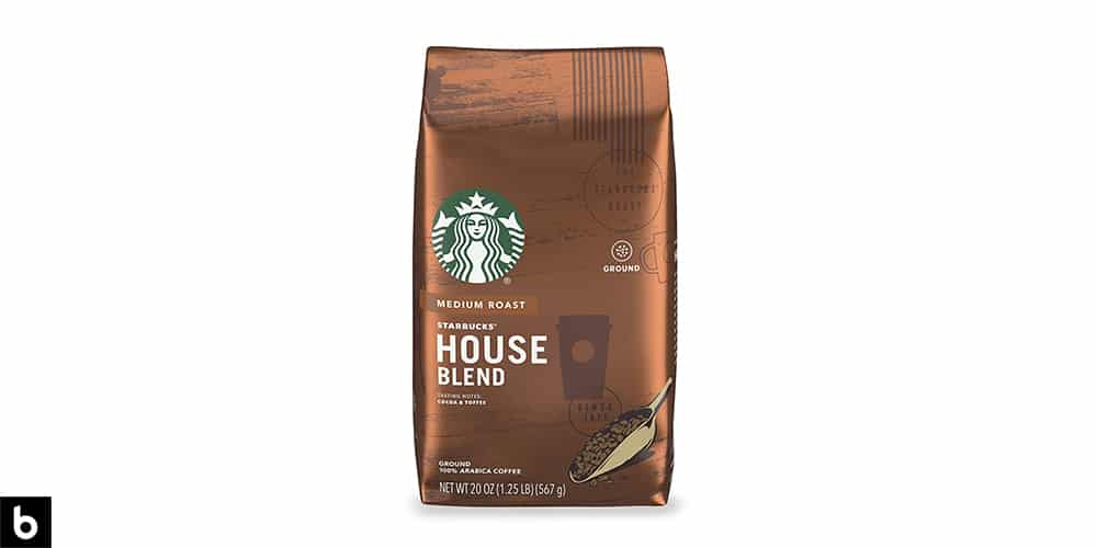 This is a product image of a brown bag of Starbucks House Blend Medium Roast Coffee.